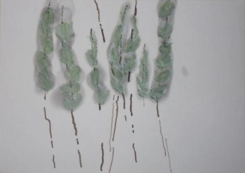 No title II Smoke, bister and pastel on paper (12 x 20 cm)