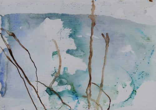 Branches in autumn Bister and aquarel on paper (21 x 30 cm)