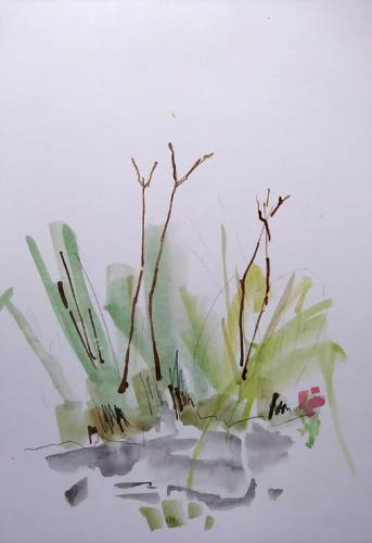 Branches near a pont Aquarel and bister on paper (30 x 40 cm)