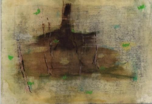 The falling of the leaves Bister, oilpastel and beewax on paper (21 x 30 cm)